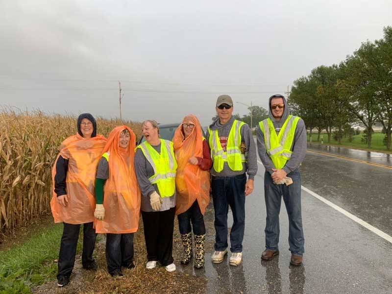 Washington County Bank employees in the their highway cleanup vests